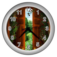 Beautiful World Entry Door Fantasy Wall Clocks (silver)  by Amaryn4rt