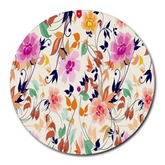 Vector Floral Art Round Mousepads