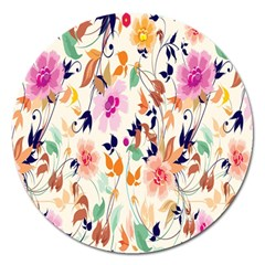 Vector Floral Art Magnet 5  (round) by Amaryn4rt