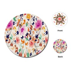Vector Floral Art Playing Cards (round)  by Amaryn4rt
