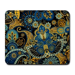 Retro Ethnic Background Pattern Vector Large Mousepads by Amaryn4rt