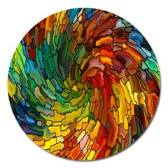 Stained Glass Patterns Colorful Magnet 5  (round) by Amaryn4rt