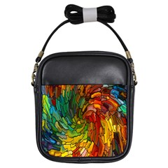 Stained Glass Patterns Colorful Girls Sling Bags