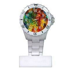 Stained Glass Patterns Colorful Plastic Nurses Watch by Amaryn4rt