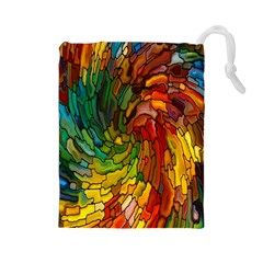Stained Glass Patterns Colorful Drawstring Pouches (large)