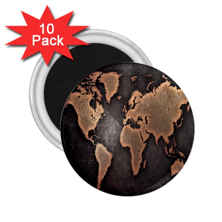 Grunge Map Of Earth 2.25  Magnets (10 pack)