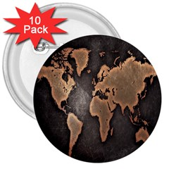 Grunge Map Of Earth 3  Buttons (10 pack)