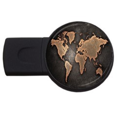 Grunge Map Of Earth USB Flash Drive Round (4 GB) by Amaryn4rt