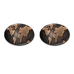 Grunge Map Of Earth Cufflinks (oval) by Amaryn4rt