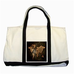 Grunge Map Of Earth Two Tone Tote Bag by Amaryn4rt