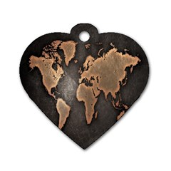 Grunge Map Of Earth Dog Tag Heart (one Side) by Amaryn4rt