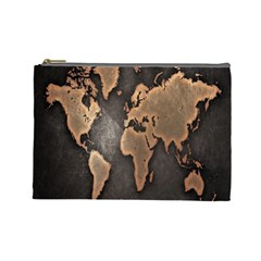 Grunge Map Of Earth Cosmetic Bag (large)  by Amaryn4rt