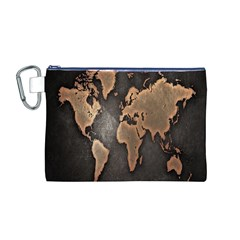 Grunge Map Of Earth Canvas Cosmetic Bag (M)