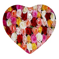 Rose Color Beautiful Flowers Ornament (heart) by Amaryn4rt