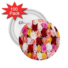 Rose Color Beautiful Flowers 2 25  Buttons (100 Pack)  by Amaryn4rt