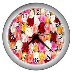Rose Color Beautiful Flowers Wall Clocks (silver)  by Amaryn4rt