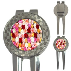 Rose Color Beautiful Flowers 3 In 1 Golf Divots by Amaryn4rt