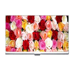 Rose Color Beautiful Flowers Business Card Holders