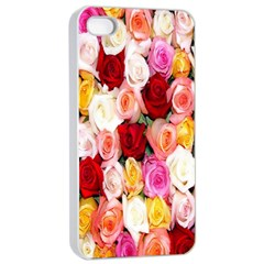 Rose Color Beautiful Flowers Apple Iphone 4/4s Seamless Case (white) by Amaryn4rt