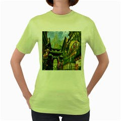 Japanese Art Painting Fantasy Women s Green T Shirt by Amaryn4rt