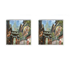 Japanese Art Painting Fantasy Cufflinks (square) by Amaryn4rt