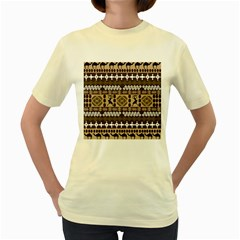 African Vector Patterns Women s Yellow T Shirt by Amaryn4rt