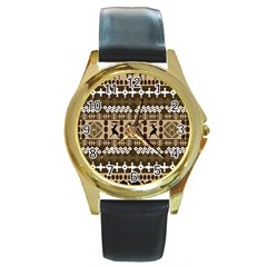 African Vector Patterns Round Gold Metal Watch