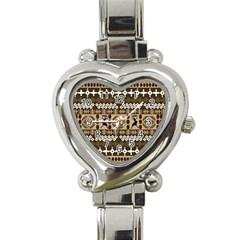 African Vector Patterns Heart Italian Charm Watch by Amaryn4rt