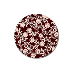 Flower Leaf Pink Brown Floral Magnet 3  (round) by Alisyart