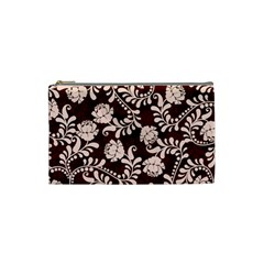 Flower Leaf Pink Brown Floral Cosmetic Bag (small)  by Alisyart