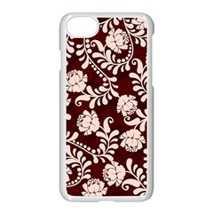 Flower Leaf Pink Brown Floral Apple Iphone 7 Seamless Case (white) by Alisyart