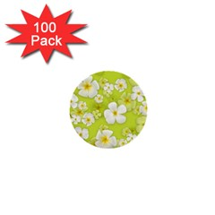 Frangipani Flower Floral White Green 1  Mini Buttons (100 Pack)  by Alisyart