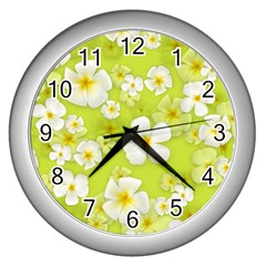 Frangipani Flower Floral White Green Wall Clocks (silver)  by Alisyart