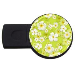 Frangipani Flower Floral White Green Usb Flash Drive Round (4 Gb) by Alisyart