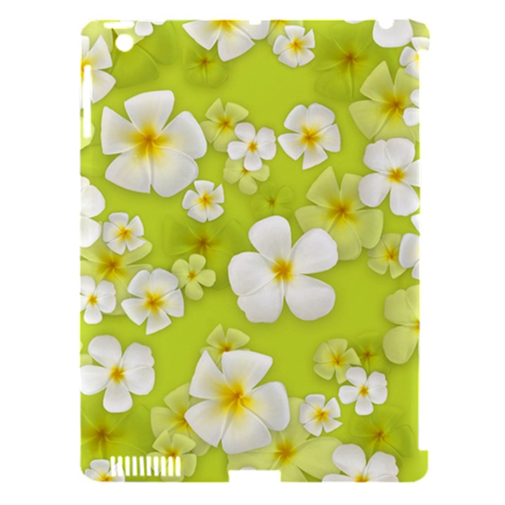 Frangipani Flower Floral White Green Apple iPad 3/4 Hardshell Case (Compatible with Smart Cover)