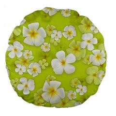 Frangipani Flower Floral White Green Large 18  Premium Round Cushions by Alisyart