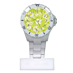 Frangipani Flower Floral White Green Plastic Nurses Watch by Alisyart