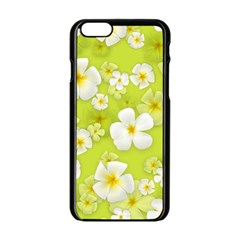 Frangipani Flower Floral White Green Apple Iphone 6/6s Black Enamel Case by Alisyart