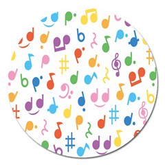 Notes Tone Music Purple Orange Yellow Pink Blue Magnet 5  (round) by Alisyart