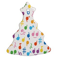 Notes Tone Music Purple Orange Yellow Pink Blue Christmas Tree Ornament (two Sides) by Alisyart
