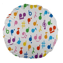 Notes Tone Music Purple Orange Yellow Pink Blue Large 18  Premium Round Cushions