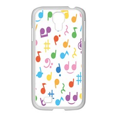 Notes Tone Music Purple Orange Yellow Pink Blue Samsung Galaxy S4 I9500/ I9505 Case (white)