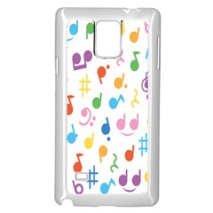 Notes Tone Music Purple Orange Yellow Pink Blue Samsung Galaxy Note 4 Case (white)