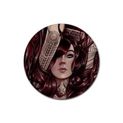 Beautiful Women Fantasy Art Rubber Coaster (Round)  by Amaryn4rt
