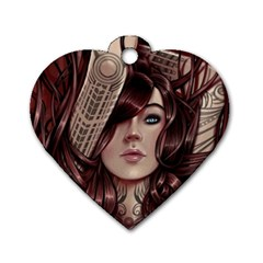 Beautiful Women Fantasy Art Dog Tag Heart (two Sides) by Amaryn4rt
