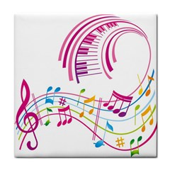 Musical Notes Pink Tile Coasters
