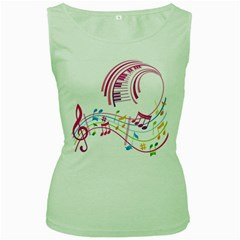 Musical Notes Pink Women s Green Tank Top by Alisyart