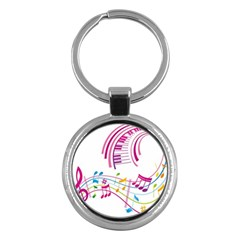 Musical Notes Pink Key Chains (round)  by Alisyart