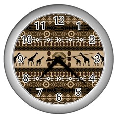African Vector Patterns  Wall Clocks (silver)  by Amaryn4rt