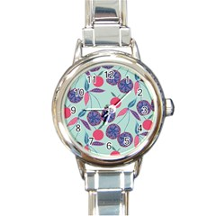 Passion Fruit Pink Purple Cerry Blue Leaf Round Italian Charm Watch by Alisyart